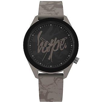 Hype | Mens Warm Grey Silicone Strap | Black Dial | HYG005BR Watch