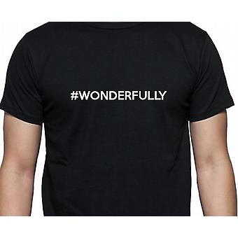 #Wonderfully Hashag Wonderfully Black Hand Printed T shirt