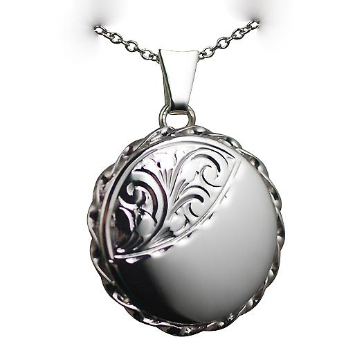 Silver 22mm half hand engraved twisted wire edge flat round Locket with a rolo chain