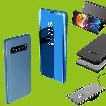 Für Samsung Galaxy S10 Lite / S10E G970F 5.8 Zoll Clear View Spiegel Smart Cover Blau Tasche Hülle Case Wake UP
