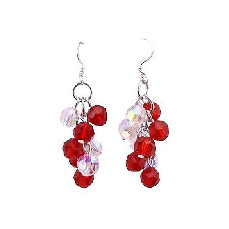 Sparkling Lite Siam Red & AB Crystal Grape Bunch Round Bead Earrings