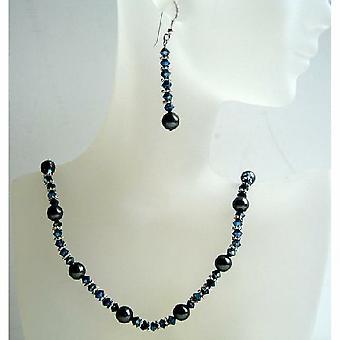 Swarovski Crystals Metallic Blue 2x & Black Pearls Hadcrafted Jewelry