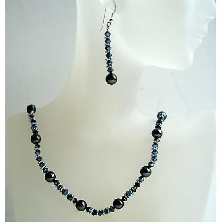 Swarovski Crystals Metallic Blue 2x & Black Pearls Hadcrafted Jewelry