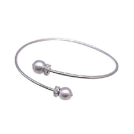 Grey Pearl Dainty Sophisticate Diamante Spacer Cuff Swarovski Bracelet