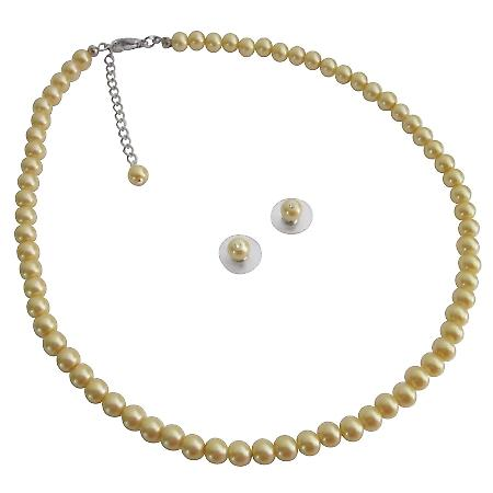 Girl Friend Bridesmaid Party Favor Gifts Yellow Pearls Jewelry Set