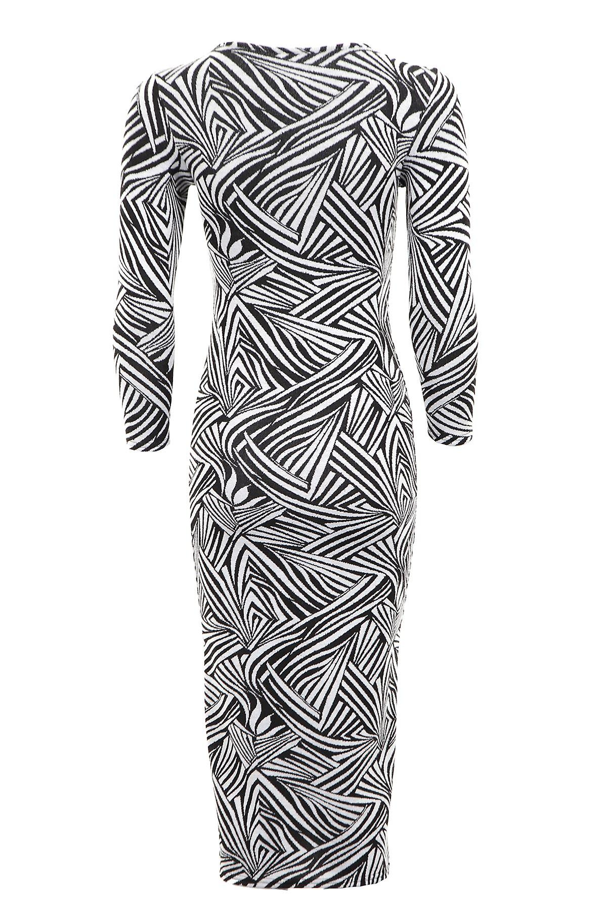 New Ladies Long Sleeve Jacquard Aztec Leaf Print Women's Maxi Dress
