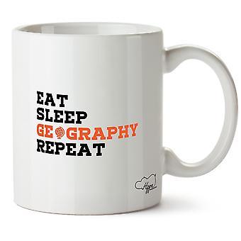 Hippowarehouse eten slaap geografie herhalen bedrukte mok Cup keramiek 10oz