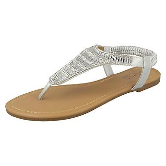 Ladies Spot On Diamante Toepost Sandals F00179