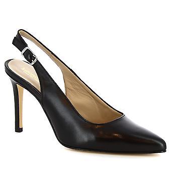 Leonardo Shoes Women's handmade stiletto slingbacks in black calf leather