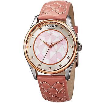 Akribos XXIV Women's Geometric Pattern Diamond Dial Leather Strap Watch AK925RGPK