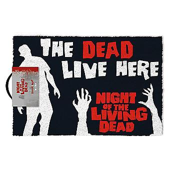 Noche del felpudo viviente Dead Live aquí negro, hecho de fibra de coco, Fondo de PVC.