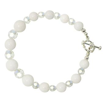 Eternal Collection Enchantment White Mountain Jade And AB Crystal Silver Tone Bracelet