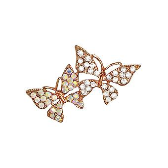 Eternal Collection Magical Crystal Rose Gold Tone Butterfly Brooch