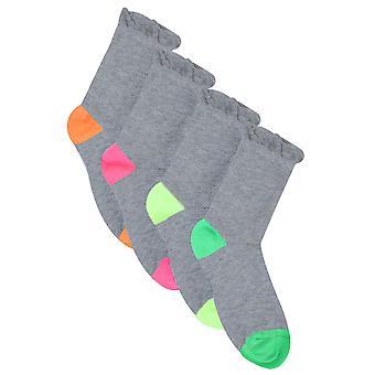 Gris 4 paire Pack couleur talon orteil chaussettes en Extra Wide Fit