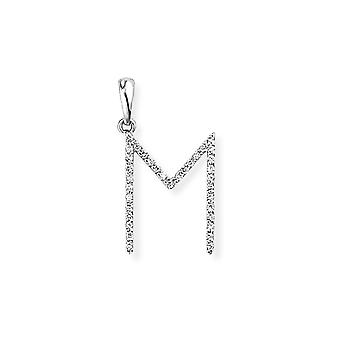 Jewelco London 18ct White Gold Pave Diamond Initial Charm Pendant Letter M 11mm x 20mm