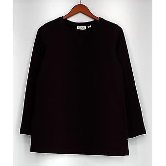 Denim & Co. trui XXS Active lange mouw trui fleece paars A238334