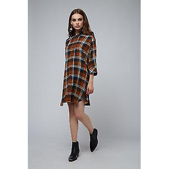 Louche Ketsia Check Shirt Dress Brown