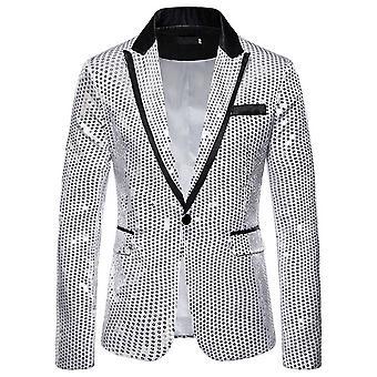 Allthemen Men's Sequins Blazer Banquet Party Slim Fit Suit Jacket