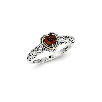 925 Sterling Silver Polished Prong set Antique finish With 14k Garnet Ring - Ring Size: 6 to 8