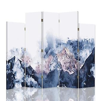 Decorative Room Divider, 5 Panels, Double-Sided, 360 ° Rotatable Canvas, Mountain Landscape2