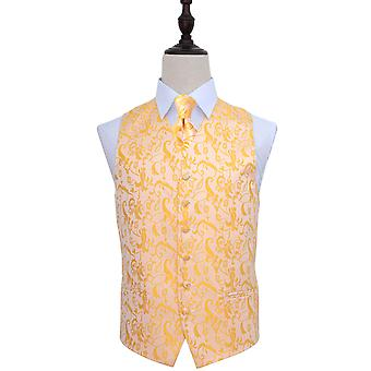 Gold Passion Floral Patterned Wedding Waistcoat & Tie Set