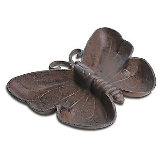 Antico finitura Cast Iron Butterfly Bird Bath / alimentatore accessorio da giardino