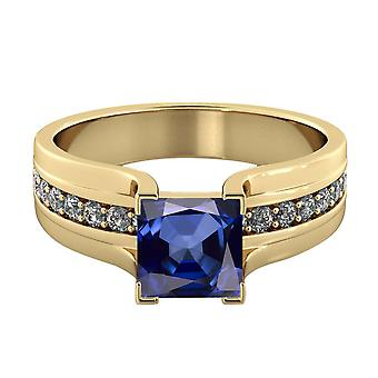 14K Yellow Gold 2.20 ctw Blue Sapphire Ring with Diamonds Bridge Channel set Princess