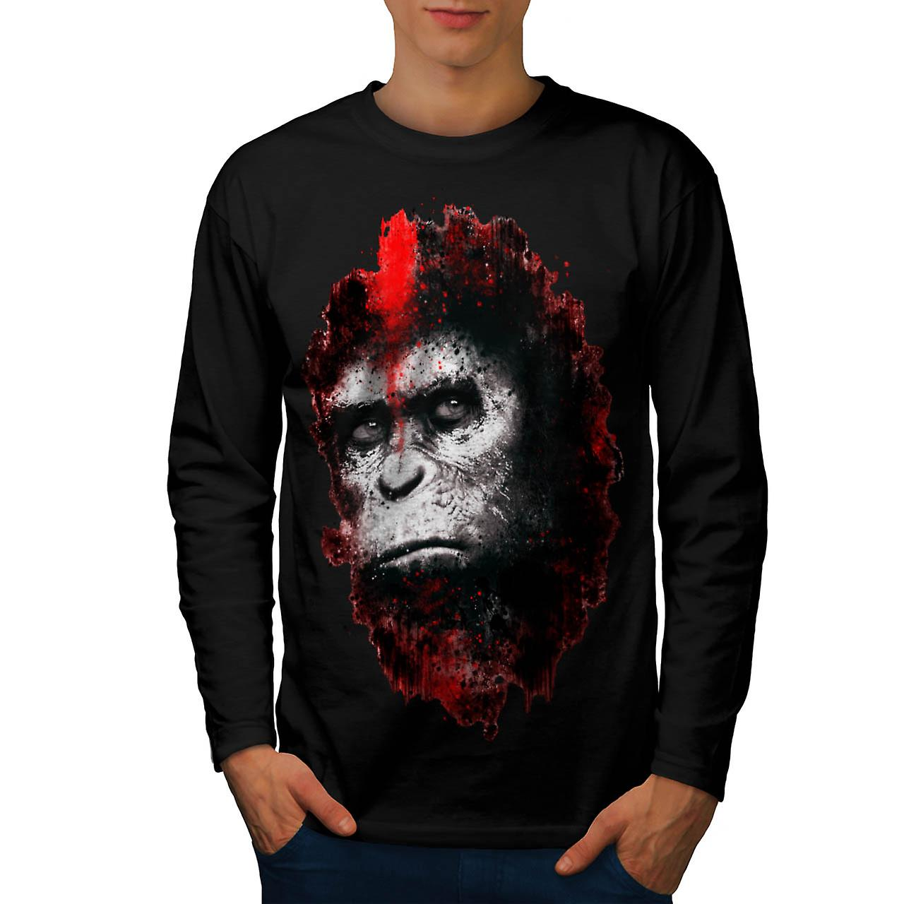 Face Of Apes Print Angry Planet Men Black Long Sleeve T-shirt | Wellcoda