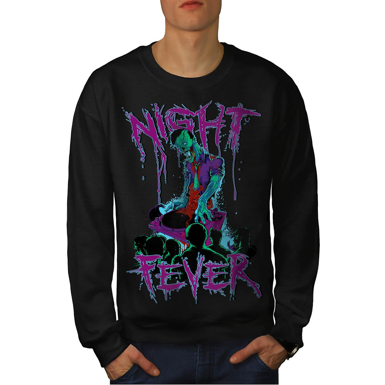 DJ Zombie Night Fever Undead Rip Men Black Sweatshirt | Wellcoda