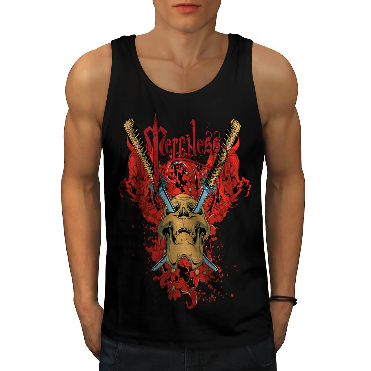 No Mercy Killer Head Dead Skull Men Black Tank Top | Wellcoda