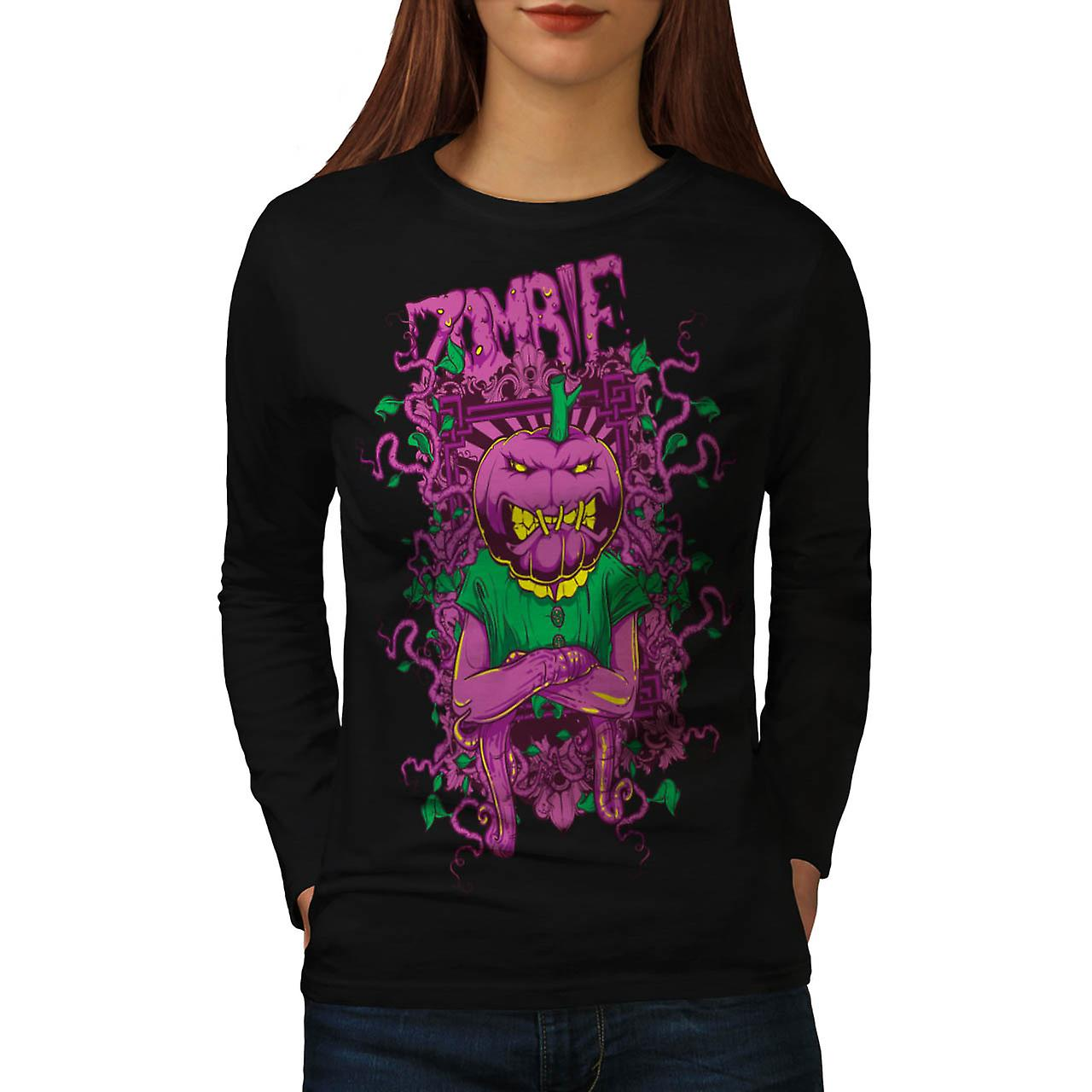 Zombie Pumpkin Ghost Head Mask Women Black Long Sleeve T-shirt | Wellcoda
