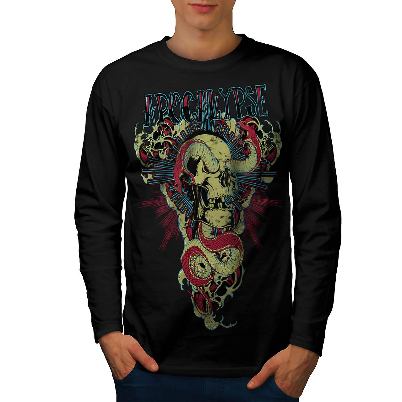 Snake Apocalypse Bite Dead Skull Men Black Long Sleeve T-shirt | Wellcoda