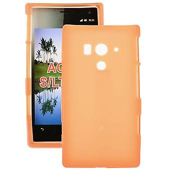 Smooth rubber TPU cover for Sony Xperia acro S LT26w (yellow)