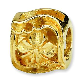 14k Gold Reflections SimStars Clover Bead Charm