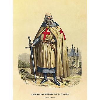 Gravure  Portrait De Jacques De Molay Grand Maitre Des Templiers Au 13 Poster Print