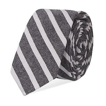 Vikings narrow tie Club tie cotton grey stripes 5 cm