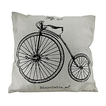 White High Wheeler Bicyclette Vintage Penny-Farthing Bicycle Throw Pillow 17 In.