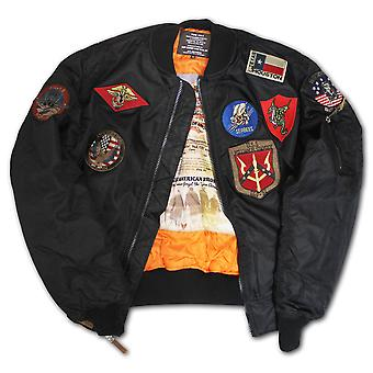 Top Gun MA 1 Nylon Bomber Jacket with Patches
