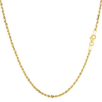 14k diamant solide or jaune coupe royale corde Collier Necklace, 1,25 mm