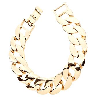 Iced out BOLD solid hip hop bracelet - CURB 20mm gold