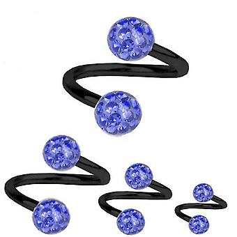 Spiral Twist Piercing Black Titanium 1,6 mm, Multi Crystal Ball Sapphire Blue