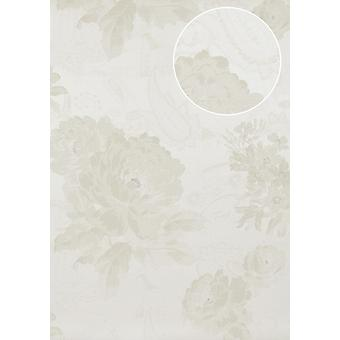 Flowers wallpaper Atlas TEM-5109-1 non-woven wallpaper structured with Paisley Muster shimmering bright ivory cream perl white grey beige 7,035 m2