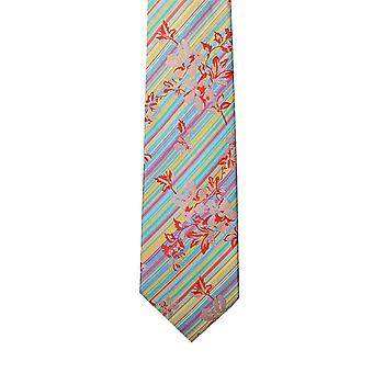 Knightsbridge Turquoise/Pink/Yellow Stripes/Floral Silk Tie