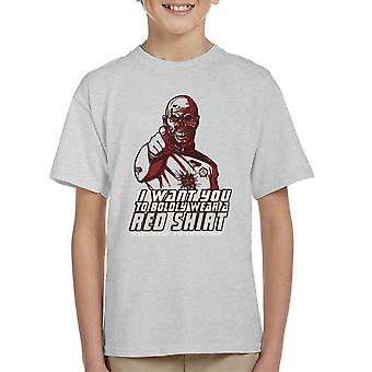 Red Shirt Zombie Star Trek Kid's T-Shirt