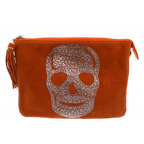 W.A.T Crystal Skull Tassel Shoulder Bag Orange Faux Suede