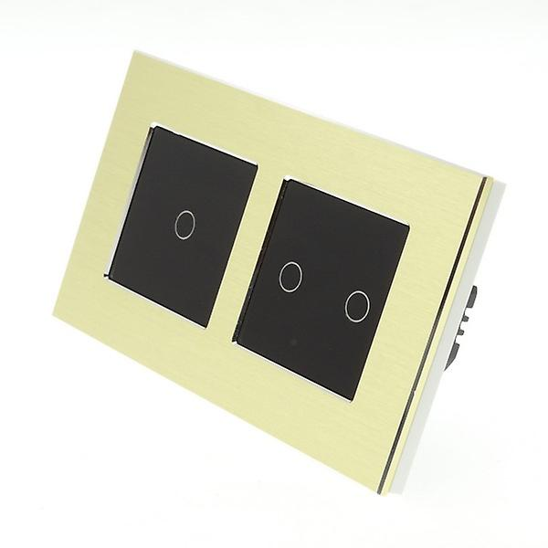 I LumoS or Brushed Aluminium Double Frame 3 Gang 2 Way WIFI 4G Remote Touch LED lumière Switch noir Insert