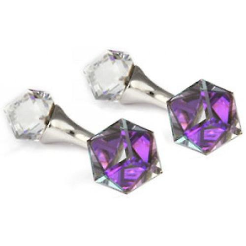 Mousie Bean Cube Crystal Cufflinks - Purple