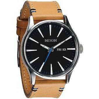 Nixon The Sentry Leather Watch - Natural/Black