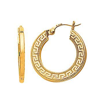 14K Yellow Gold Small Greek Key Textured Hoop Earrings, Diameter 22mm