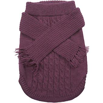 Dog Scarf Sweater-Plum Medium 651955